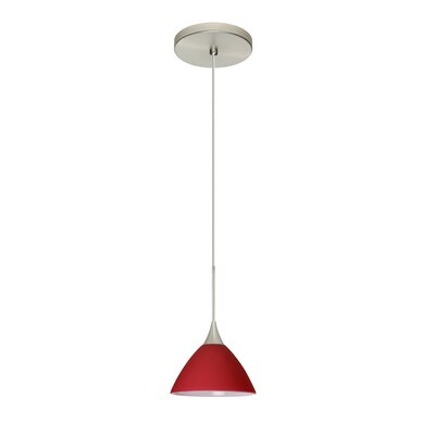 Domi 1-Light Mini Pendant Bulb Type: Halogen, Finish: Satin Nickel, Shade Color: Red Matte