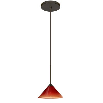 Kona 1 LED Integrated Bulb Mini Pendant Finish: Bronze, Shade Color: Sunset, Bulb Type: Halogen