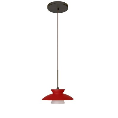 Trilo 1-Light Mini Pendant Finish: Bronze, Shade Color: Red Matte, Bulb Type: Halogen