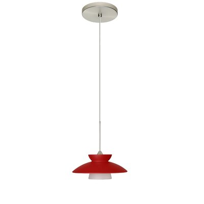 Trilo 1-Light Mini Pendant Finish: Satin Nickel, Shade Color: Red Matte, Bulb Type: Halogen
