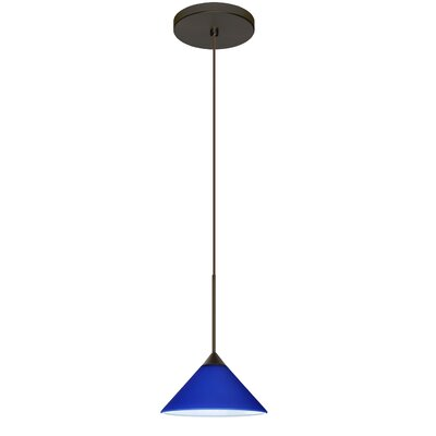 Kona 1-Light Mini Pendant Finish: Bronze, Bulb Type: Halogen, Shade Color: Blue Matte