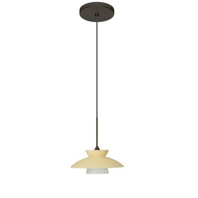 Trilo 1-Light Mini Pendant Finish: Bronze, Shade Color: Champagne, Bulb Type: Halogen