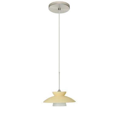 Trilo 1-Light Mini Pendant Finish: Satin Nickel, Shade Color: Champagne, Bulb Type: Halogen