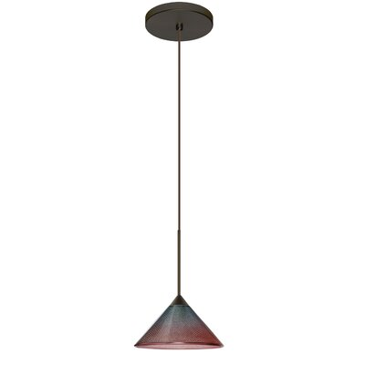 Kona 1 LED Integrated Bulb Mini Pendant Finish: Bronze, Bulb Type: Halogen, Shade Color: Bi-Color