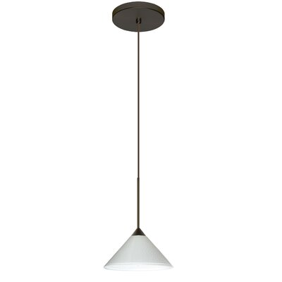 Kona 1 Integrated Bulb Mini Pendant Finish: Bronze, Shade Color: White Starpoint, Bulb Type: Halogen