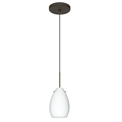 Pera 1 Integrated Bulb Mini Pendant Finish: Bronze, Shade Color: Opal Matte, Bulb Type: Halogen