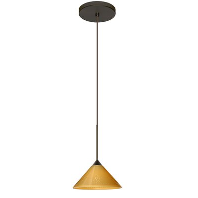 Kona 1 Integrated Bulb Mini Pendant Finish: Bronze, Shade Color: Mango Starpoint, Bulb Type: Halogen