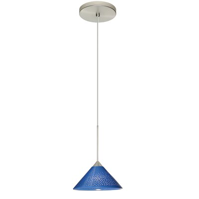 Kona 1 Integrated Bulb Mini Pendant Finish: Satin Nickel, Shade Color: Blue Starpoint, Bulb Type: LED