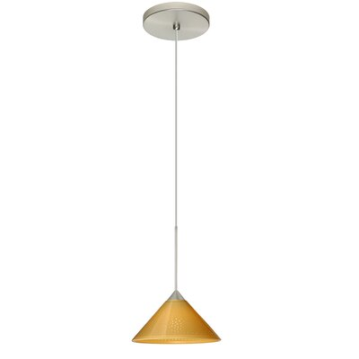 Kona 1 Integrated Bulb Mini Pendant Finish: Satin Nickel, Shade Color: Mango Starpoint, Bulb Type: Halogen