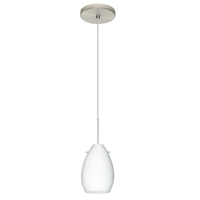 Pera 1 Integrated Bulb Mini Pendant Finish: Satin Nickel, Shade Color: Opal Matte, Bulb Type: Halogen