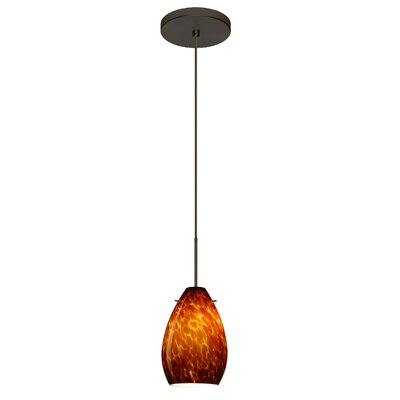 Pera 1 Integrated Bulb Mini Pendant Finish: Bronze, Shade Color: Amber Cloud, Bulb Type: Halogen