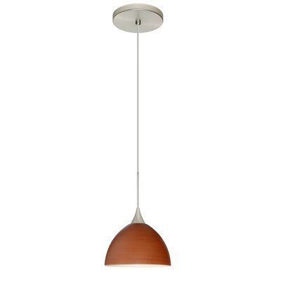 Brella 1 LED Integrated Bulb Mini Pendant Shade Color: Cherry, Bulb Type: Halogen, Finish: Satin Nickel