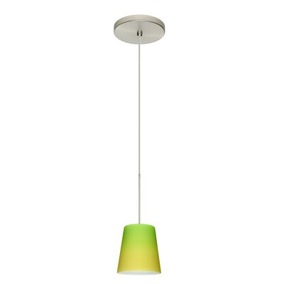 Canto 1 Integrated Bulb Mini Pendant Finish: Satin Nickel, Shade Color: Bicolor Green/Yellow, Bulb Type: LED