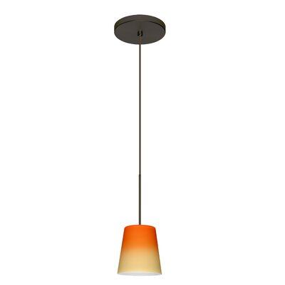 Canto 1 LED Integrated Bulb Mini Pendant Finish: Bronze, Bulb Type: LED, Shade Color: Bicolor Orange/Pina