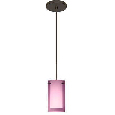 Pahu 1 LED Integrated Bulb Mini Pendant Finish: Bronze, Bulb Type: Halogen, Shade Color: Transparent Amethyst/Opal