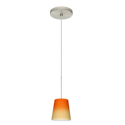 Canto 1 Integrated Bulb Mini Pendant Finish: Satin Nickel, Shade Color: Bicolor Orange/Pina, Bulb Type: Halogen