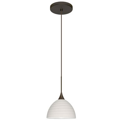 Brella 1 Integrated Bulb Mini Pendant Finish: Bronze, Shade Color: Chalk, Bulb Type: Halogen