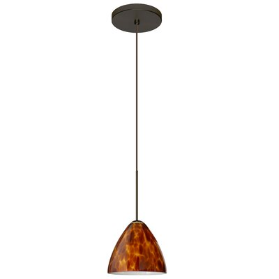 Mia 1 Integrated Bulb Mini Pendant Finish: Bronze, Shade Color: Amber Cloud, Bulb Type: LED