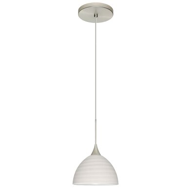 Brella 1 Integrated Bulb Mini Pendant Finish: Satin Nickel, Shade Color: Chalk, Bulb Type: LED