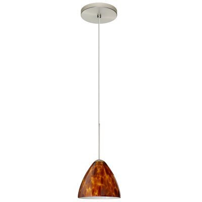 Mia 1 Integrated Bulb Mini Pendant Finish: Satin Nickel, Shade Color: Amber Cloud, Bulb Type: Halogen