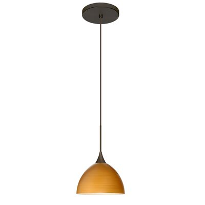 Brella 1 LED Integrated Bulb Mini Pendant Finish: Bronze, Bulb Type: Halogen, Shade Color: Oak