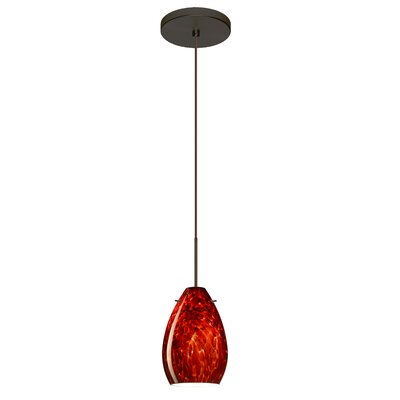 Pera 1 Integrated Bulb Mini Pendant Finish: Bronze, Shade Color: Garnet, Bulb Type: Halogen