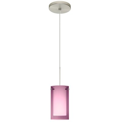 Pahu 1 Integrated Bulb Mini Pendant Finish: Satin Nickel, Shade Color: Transparent Amethyst/Opal, Bulb Type: LED