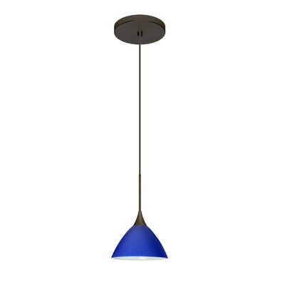 Domi 1-Light Mini Pendant Finish: Bronze, Shade Color: Blue Matte, Bulb Type: LED