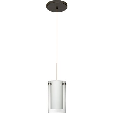 Pahu 1 Integrated Bulb Mini Pendant Finish: Bronze, Shade Color: Clear/Opal, Bulb Type: LED