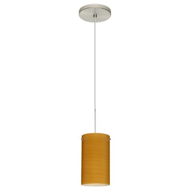 Stilo 1-Light Mini Pendant Bulb Type: LED, Finish: Satin Nickel, Shade Color: Oak