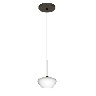 Peri 1 Integrated Bulb Mini Pendant Finish: Bronze, Shade Color: Opal Matte, Bulb Type: Halogen