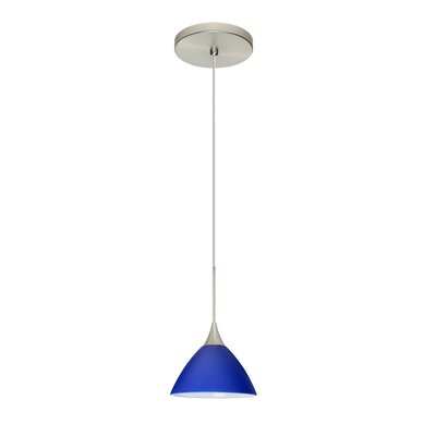 Domi 1-Light Mini Pendant Shade Color: Blue Matte, Bulb Type: LED, Finish: Satin Nickel