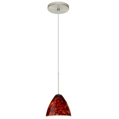 Mia 1 Integrated Bulb Mini Pendant Finish: Satin Nickel, Shade Color: Garnet, Bulb Type: LED