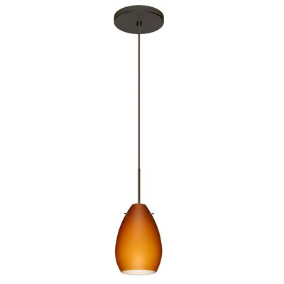 Pera 1 LED Integrated Bulb Mini Pendant Finish: Bronze, Shade Color: Amber Matte, Bulb Type: Halogen