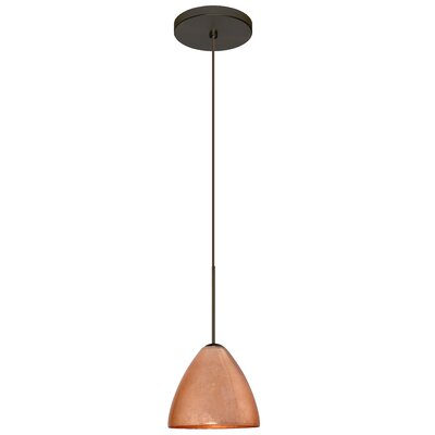 Mia 1 LED Integrated Bulb Mini Pendant Finish: Bronze, Shade Color: Copper Foil, Bulb Type: LED