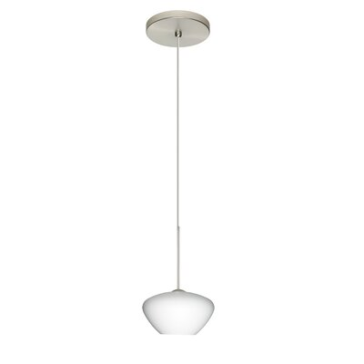 Peri 1 Integrated Bulb Mini Pendant Finish: Satin Nickel, Shade Color: Opal Matte, Bulb Type: Halogen
