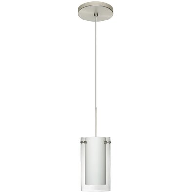 Pahu 1 Integrated Bulb Mini Pendant Finish: Satin Nickel, Shade Color: Clear/Opal, Bulb Type: LED