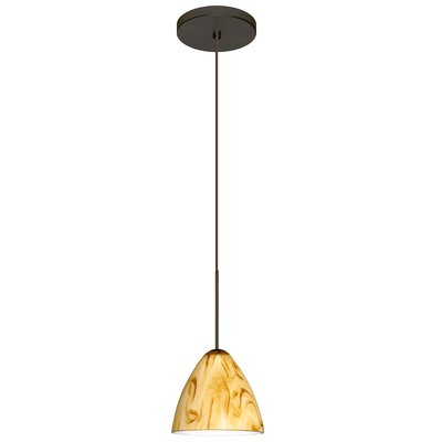 Mia 1 Integrated Bulb Mini Pendant Finish: Bronze, Bulb Type: Halogen