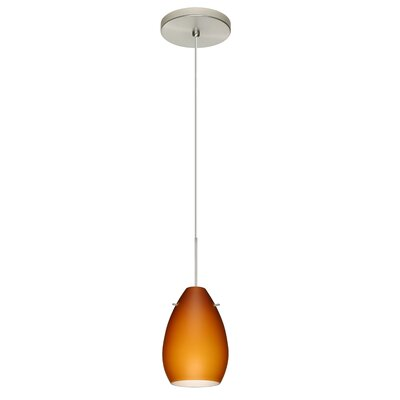 Pera 1 Integrated Bulb Mini Pendant Finish: Satin Nickel, Shade Color: Amber Matte, Bulb Type: Halogen