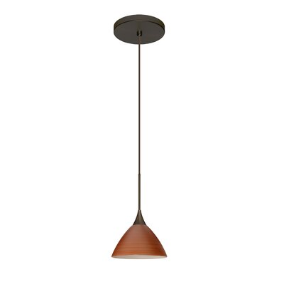 Domi 1 Integrated Bulb Mini Pendant Finish: Bronze, Shade Color: Cherry, Bulb Type: Halogen