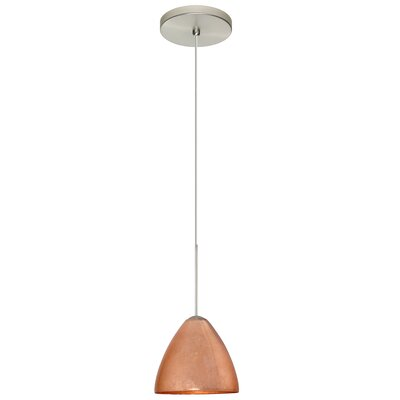 Mia 1 LED Integrated Bulb Mini Pendant Shade Color: Copper Foil, Bulb Type: Halogen, Finish: Satin Nickel
