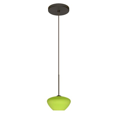 Peri 1 Integrated Bulb Mini Pendant Finish: Bronze, Shade Color: Lime, Bulb Type: LED