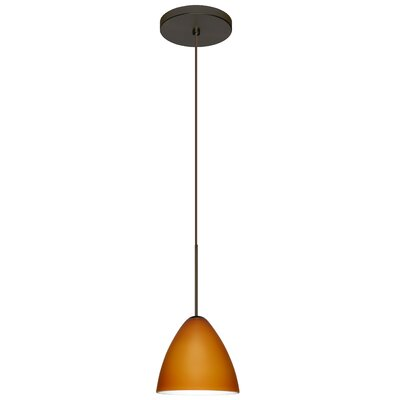 Mia 1-Light Mini Pendant Finish: Bronze, Bulb Type: Halogen, Shade Color: Amber Matte