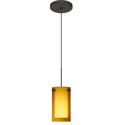 Pahu 1 LED Integrated Bulb Mini Pendant Finish: Bronze, Bulb Type: Halogen, Shade Color: Transparent Armagnac/Opal