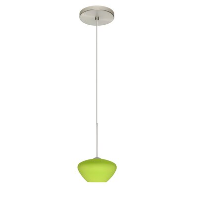 Peri 1 Integrated Bulb Mini Pendant Finish: Satin Nickel, Shade Color: Lime, Bulb Type: Halogen
