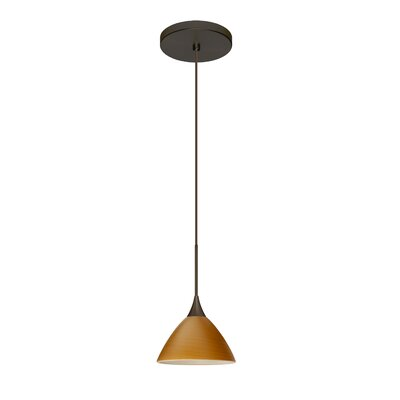 Domi 1 Integrated Bulb Mini Pendant Finish: Bronze, Shade Color: Oak, Bulb Type: Halogen