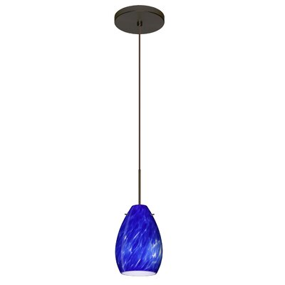 Pera 1 LED Integrated Bulb Mini Pendant Finish: Bronze, Bulb Type: Halogen, Shade Color: Blue Cloud