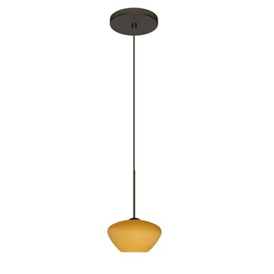 Peri 1 Integrated Bulb Mini Pendant Finish: Bronze, Shade Color: Amber Matte, Bulb Type: Halogen