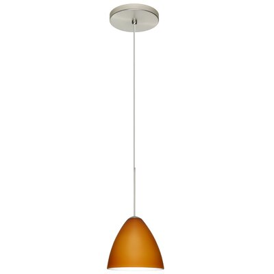 Mia 1-Light Mini Pendant Bulb Type: Halogen, Finish: Satin Nickel, Shade Color: Amber Matte