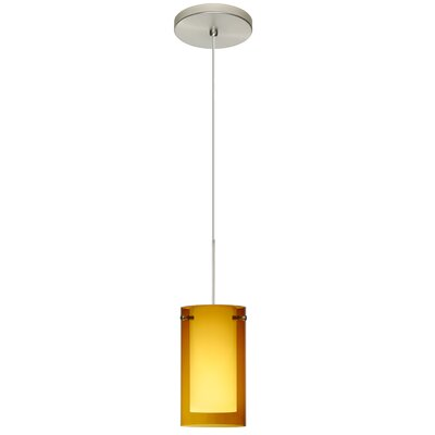 Pahu 1 LED Integrated Bulb Mini Pendant Bulb Type: Halogen, Finish: Satin Nickel, Shade Color: Transparent Armagnac/Opal